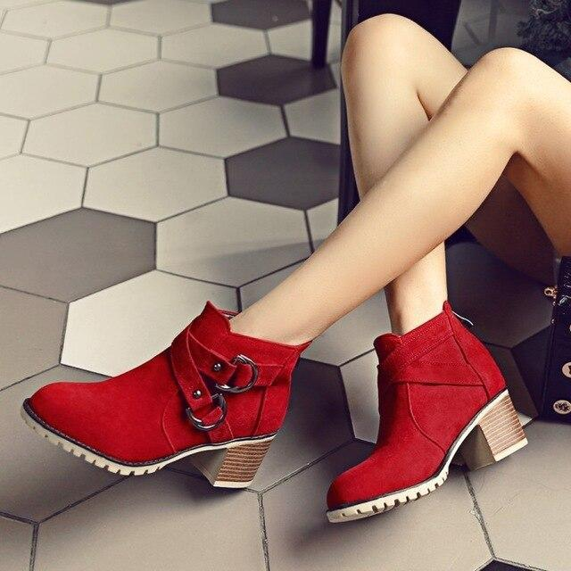 Autumn And Winter Women Boots Buckle Back Zipper Fashion Motorcycle Boots Women Shoes Middle Heel Leather
