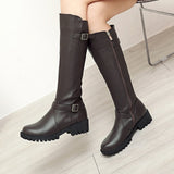 Women long boots Fashion Pure Color Round Toe Slip-On Boots Chunky Heels Vintage Women Boots Winter Warm Zipper Boot botas mujer