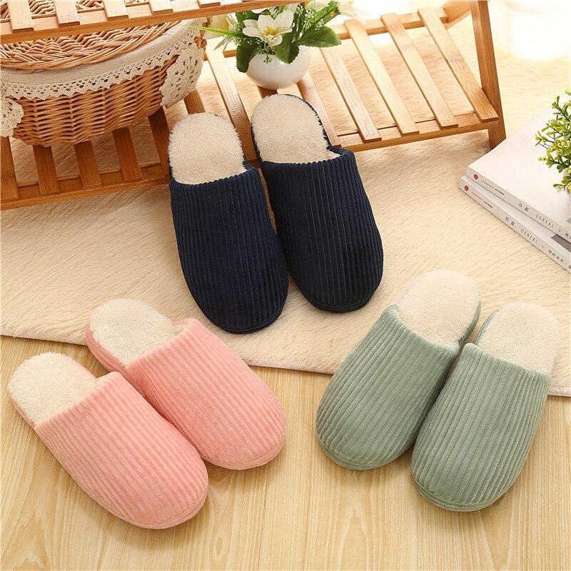 Winter Home Slippers Striped Soft Bottom Women's Slippers Couple Thick Bottom Non-slip Shoes Woman Female Fluffy Slippers