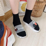 Chic Funny Cartoon Flat Slippers Summer Women Transparent Shoes Casual Mule House Slippers Female Beach Rubber Cute Slippers