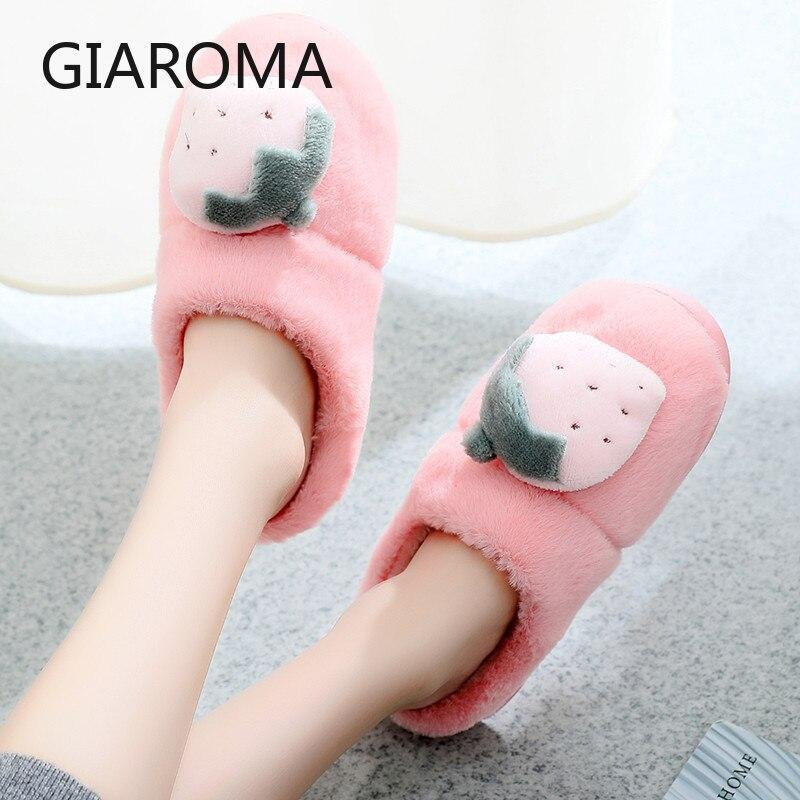 Winter Slippers Women Fur Slides Female House Slipper Indoor Shoes Cute Warm Plush Flip Flops Women Chanclas Mujer