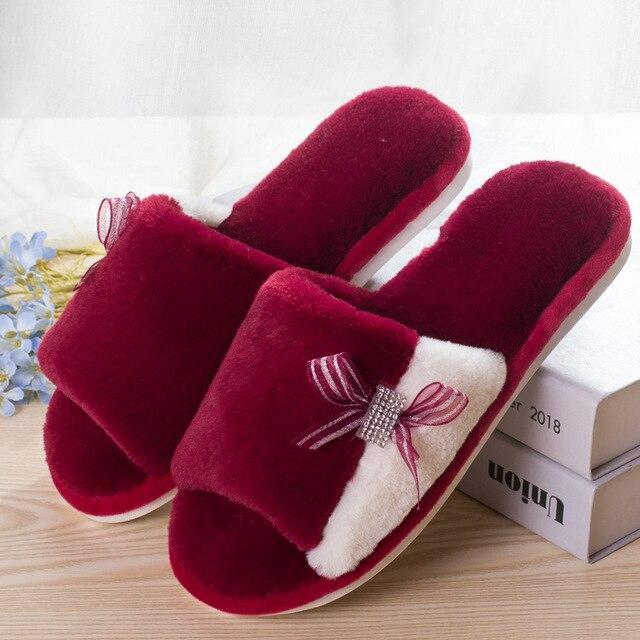 Women's Fur Slippers Winter Woman Slippers Slip On Warm Shoes Non-slip Flats Female Spring Autumn Winter House Shoes