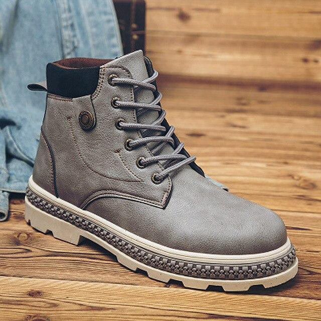 Brand Men Ankle Boots Shoes Casual For Male Warm With Fur Short Plush Sneakers Men Footwear Platform Bot  Hombre