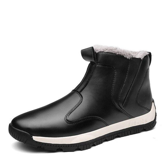 Plus Size Men Snow Boots PU Leather Man Casual Ankle Boots High Top Slip-on Male Shoes Cotton Plush Footwear