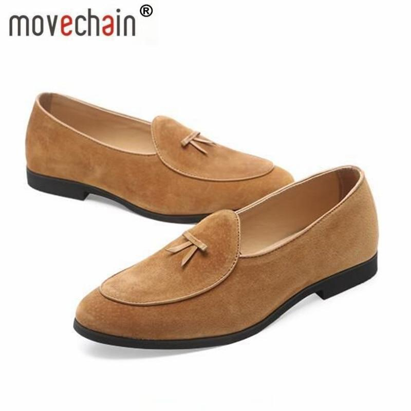 Movechain Men's Fashion Suede Comfortable Loafers Mens Casual Outdoor Driving Party Moccasins Shoes Man Youth Trendy Flats