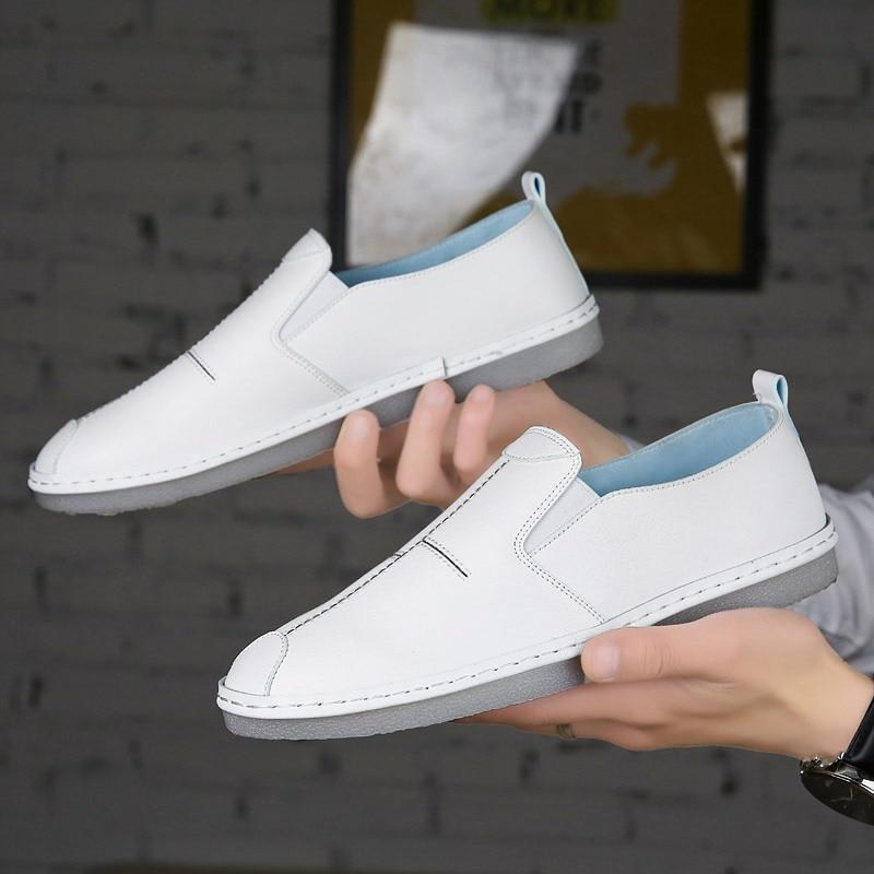 White Black Men Loafers Soft Leather Comfortable Men Shoes Summer Casual Driving Shoes C4