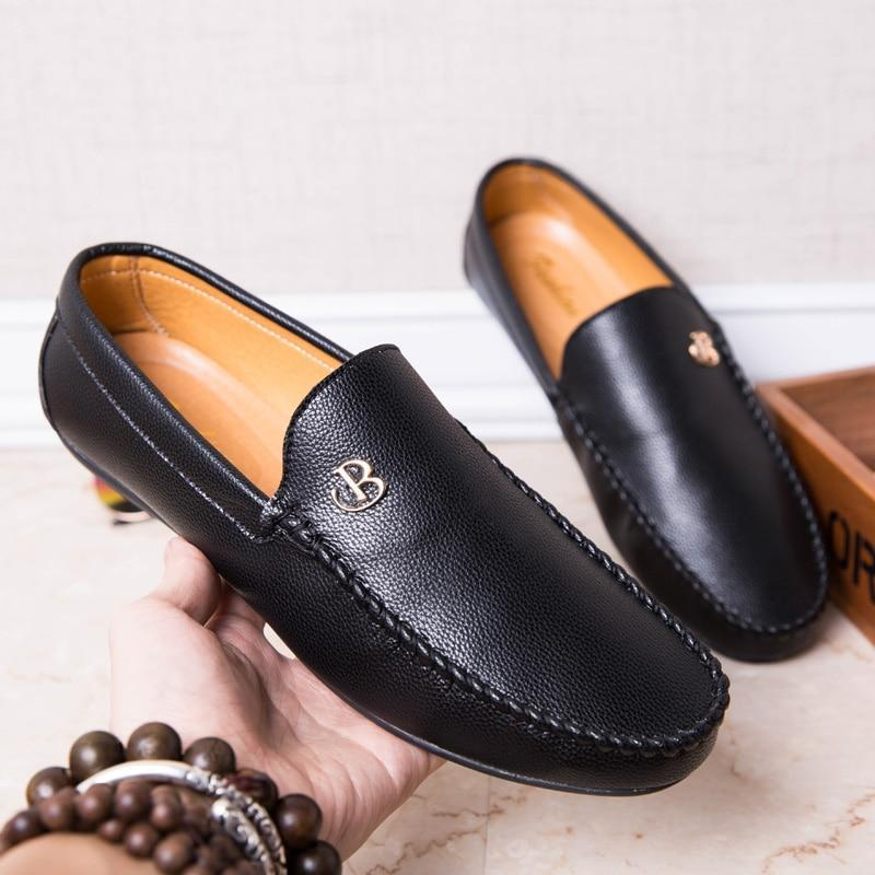 Men's Luxury Loafers Men Loafer Summer Party Shoes Soft Moccasins PU Leather Man Flats Gommino Driving Shoes Slip On Shoes Black