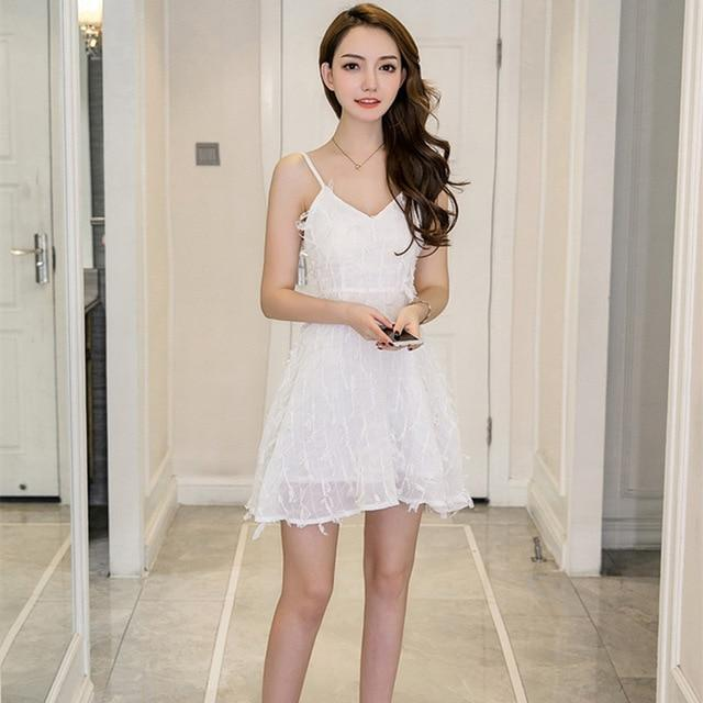 Summer Solid Appliques Sexy Party Mini A-line Dress White Pink Sleeveless Spaghetti Strap V-neck Dress Casual Office Dresses