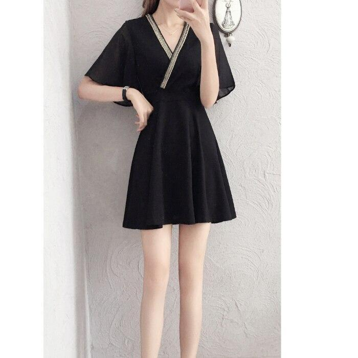 Summer Women dress Chiffon Slim Little Show High Stomach Accept Waist Dresses Black