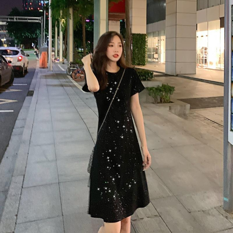 Sexy Dresses Party Night Club Dress 2019 New Summer Women's Clothing Simple Scheming Little Black Dress  Sequin Dress