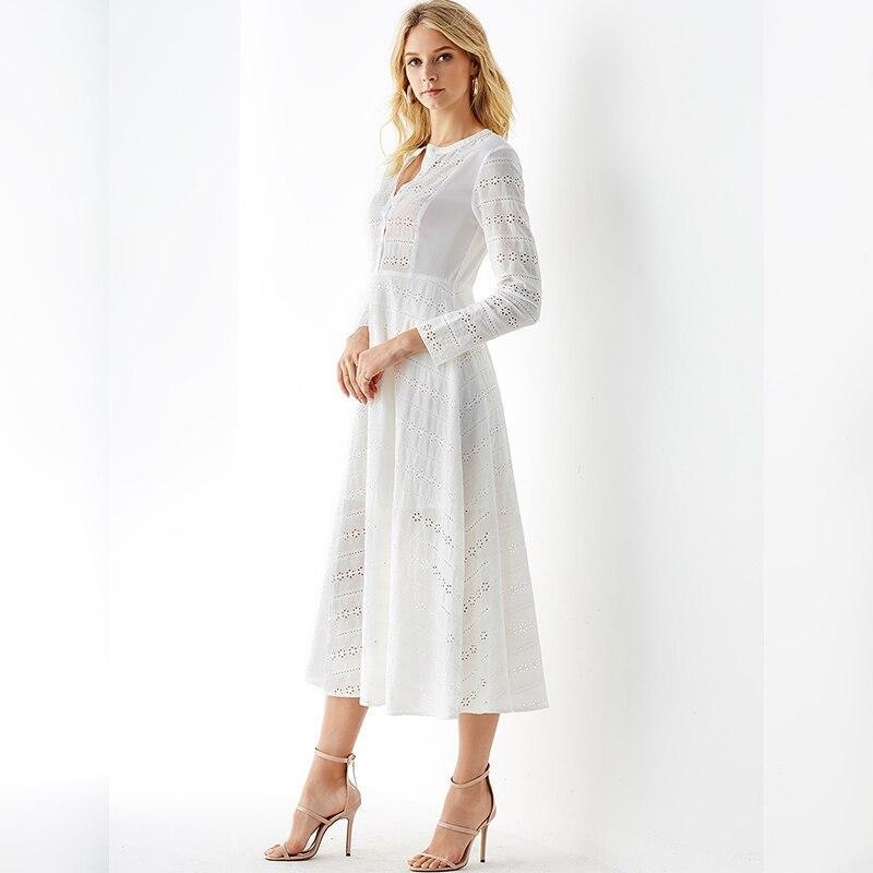 YONIS Spring Autumn Women Long Maxi Dress Embroidered Hollow Long Sleeves Dress Long Sleeve V-neck Elegant Bohemian Vestido