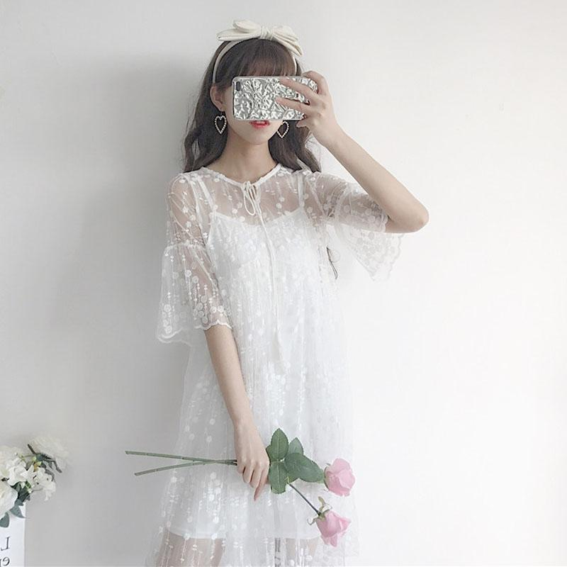 Women Summer Mesh Lace Dress Ladies Casual Sexy Elegant Office Two Pieces Floral Embroidery Beach A-line White Dresses