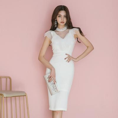 Elegant White Lace Patchwork Bandage Dresses Women Summer Sleeveless Tank Business Office Wear Sheath Bodycon Party