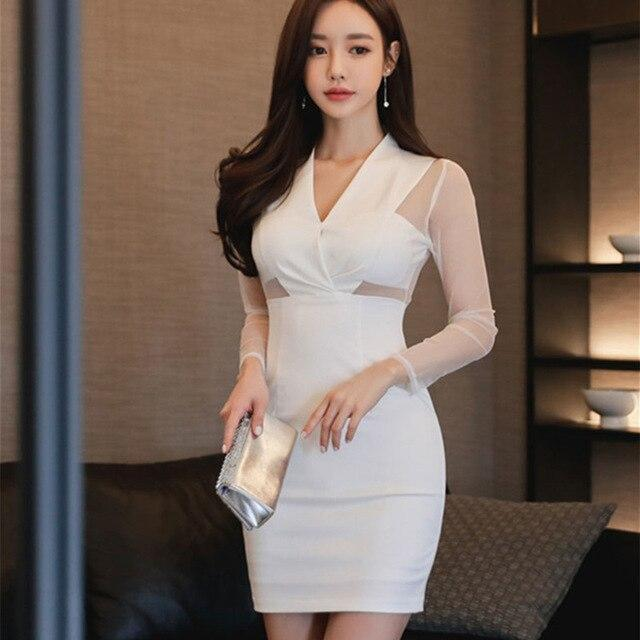 Arrivals Women Bodycon Party Dress Sexy Long Sleeve Pencil Dress Sexy  Club V Neck White Dresses