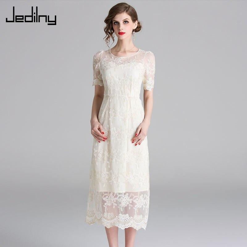 Women Summer Dress Casual O Neck Short Sleeve Mesh Lace White Dress Elegant Party Dresses