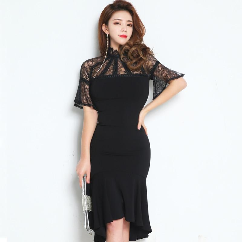 Elegant Flare Sleeve Sexy Black Lace Patchwork Dress Women Spring Mermaid Bodycon Dresses OL Hollow Out Vestidos