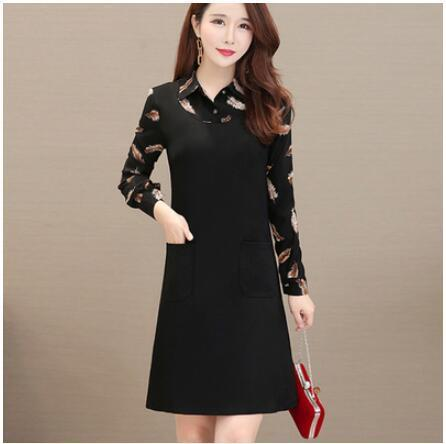 Fashion new floral mosaic fake two-piece dress women spring autumn plus size dress female long-sleeved black A-line dresses