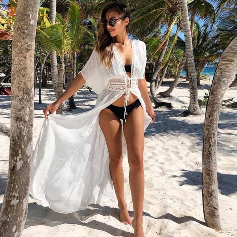 Tunics for Beach Swimsuit Cover up Women Swimwear Long Kaftan Beach Cover up Beachwear Pareo Beach Dress Saida de Praia