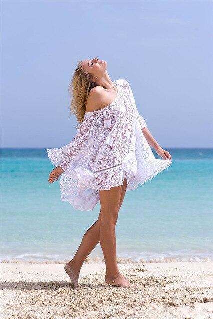 Summer Swimsuit Lace Hollow Beach Cover Up Single Shoulder Women Tops Swimwear Beach Dress Bikini Cover Ups Tunic Shirts