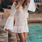 Free shipping Lace Beach Cover Up Swim Dress women flare sleeve bikini swimsuit bathing suit cover ups mini beach dress