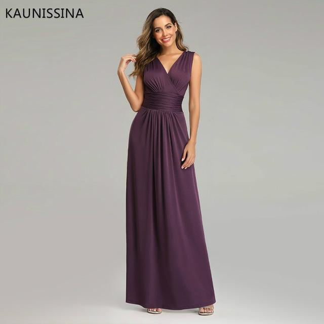 KAUNISSINA Long Evening Robe Party Dresses V-Neck Sleeveless Dress For Banquet Party Cheap Maxi Evening