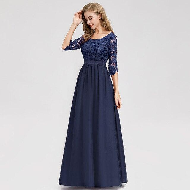 It's Yiiya Evening Dress Half Sleeve O-neck Women Party Dresses A-line Lace Robe de Soiree Plus Size Elegant Formal Gowns