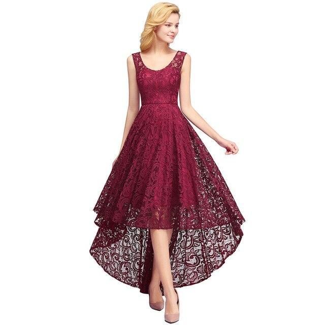 Elegant Pink Burgundy Lace Long Evening Dress A line Sleeveless High Low Evening Gown robe de soiree