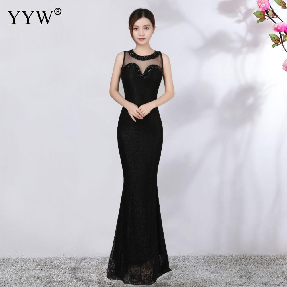 Black Floral Lace & Transparent Mesh Diamonds Evening Party Dress Tank Sleeveless Long Elegant Sexy Club Dress