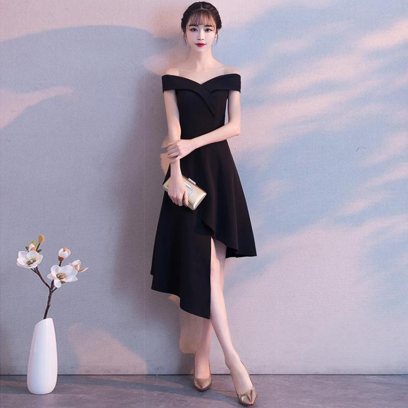 Do Dower New Classic Black Asymmetrical Evening Dress Fashion Boat Neck Medium Long Section Party Evening Dress Robe De Soiree