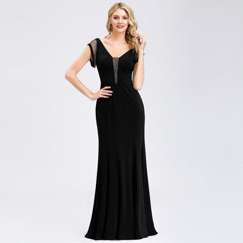 Mermaid Classic Black Evening Dress Fall Sequins Double V-neck Short Sleeves Dress Simple Zipper-up Dress