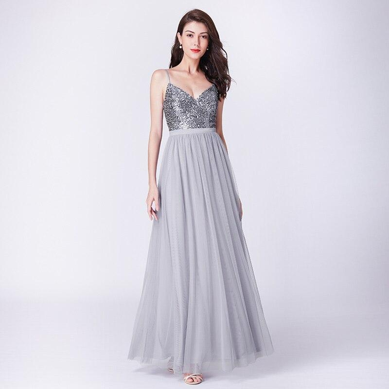 Evening Dress Floor-length Adjustable Spaghetti-Strap Sequined Tulle Dress Backless V-Neck Dress Party Online store for sale