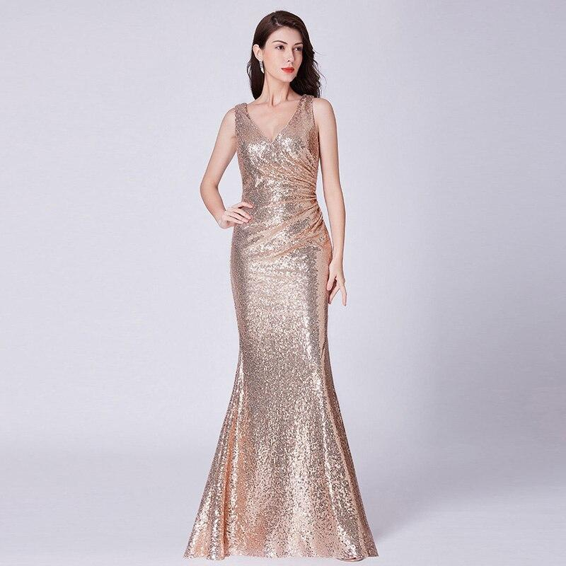Evening Dress Elegant V-neck Sleeveless Evening Gowns Prom Dress Mermaid Floor-length Formal Dress