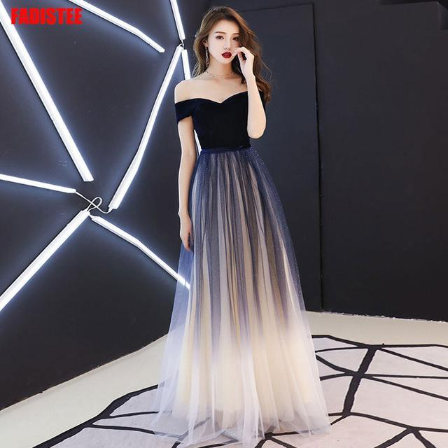 Navy blue elegant Prom party Dresses dress evening long frock robe robe communion robe sequin