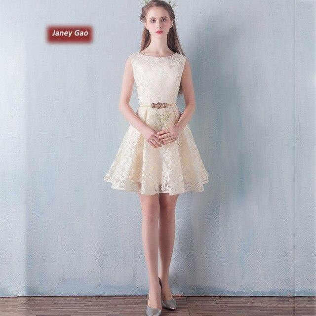 JaneyGao bridesmaid dress short banquet evening dress host graduation dress dress Slim thin female