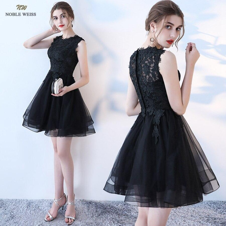Prom dresses o-neck prom dress sexy black lace gala zipper back a-line mini prom gown