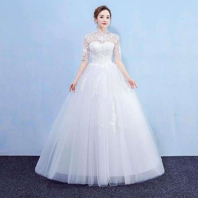 VENSANAC High Neck Ball Gown Lace Appliques Wedding Dresses Crystal Flowers Half Sleeve Open Back Bridal Gowns