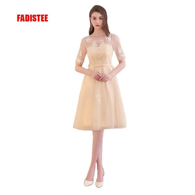 FADISTEE Free shipping arrival elegant party prom dress appliques lace-up dress short sleeves dress