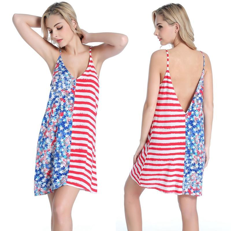 New Arrival Most Popular USA Flag Beach dress Wild Female Sexy Women Comfortable Viscose dress Beach Cover up S.M.L.XL