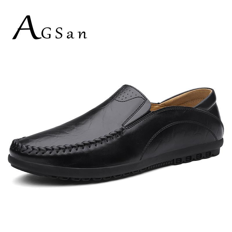 AGSan Free shipping Genuine Leather Men Loafers Classic Casual Shoes Leisure Men Driving Shoes Hot Sell Italian Men's Loafers Handmade Shoes