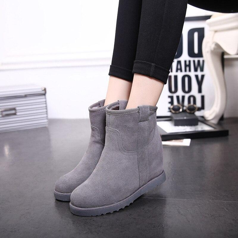 Women boots Upgraded autumn& winter flat bottom increased genuine leather snow boots winter boots student ankle boots