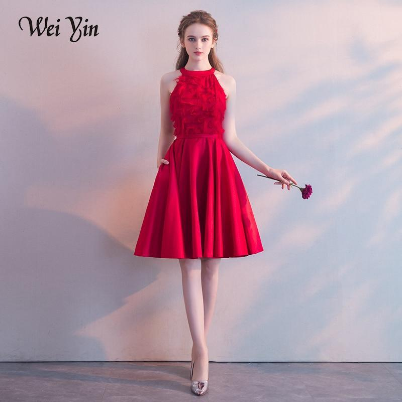 WEIYIN Short Prom Dress With Lace Gowns Sleeveless Formal Wedding Party Gown Special Occasion Dresses