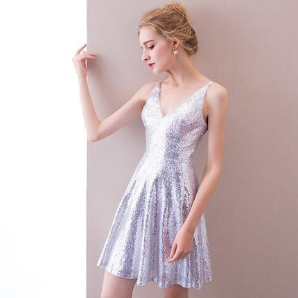 Ladybeauty New arrival Short Prom Dresses A line Party Dress Mini Dress V Neck Sequin Party Ball Gown