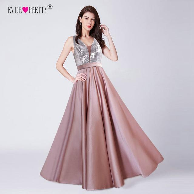 New Elegant A Line V Neck Long Prom Dresses Ever Pretty Sexy Backless Sequined Wedding Party Gowns Satin