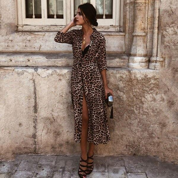 Newest Bikini Cover Up Leopard Hollow Out Swimsuit Beach Dress Women Summer Ladies Cover-Ups Bathing Suit Beach Wear Tunic