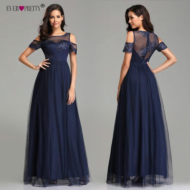 Evening Dresses Long Ever Pretty Navy Blue Vintage Lace Appliques A-line Tulle Elegant Formal Party Evening Gowns