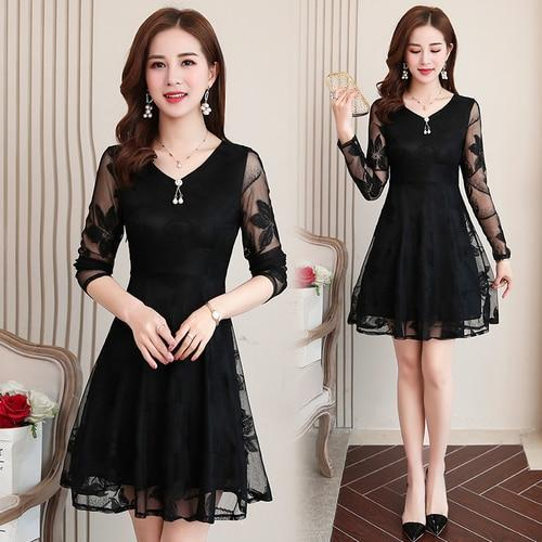 Summer Women's Lace Black V-neck Long Sleeve Mini Dress Bohemian Fashion Elegant High Waist Sexy Club Party Dress