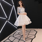 It's YiiYa Prom Dress Shining Sliver Sequins Short Party Dresses Elegant O-neck Zipper High Low Length Formal Ball Gown