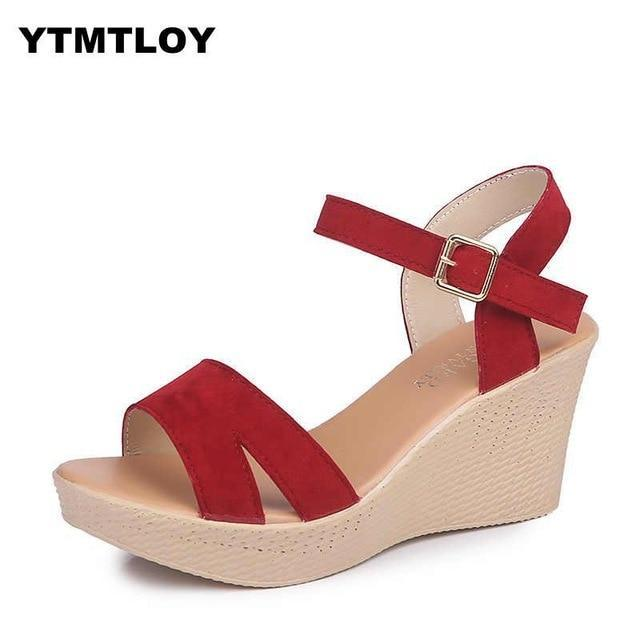 Women Sandals Fashion High Heels Buckle Gladiator Platform Wedge Shoes for women  Summer Shoes  Platform Sandals Gladiator