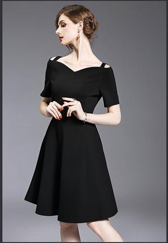 Spaghetti Straps Off collar short Evening Dresses black wedding party prom dress wholesale women clothing girl