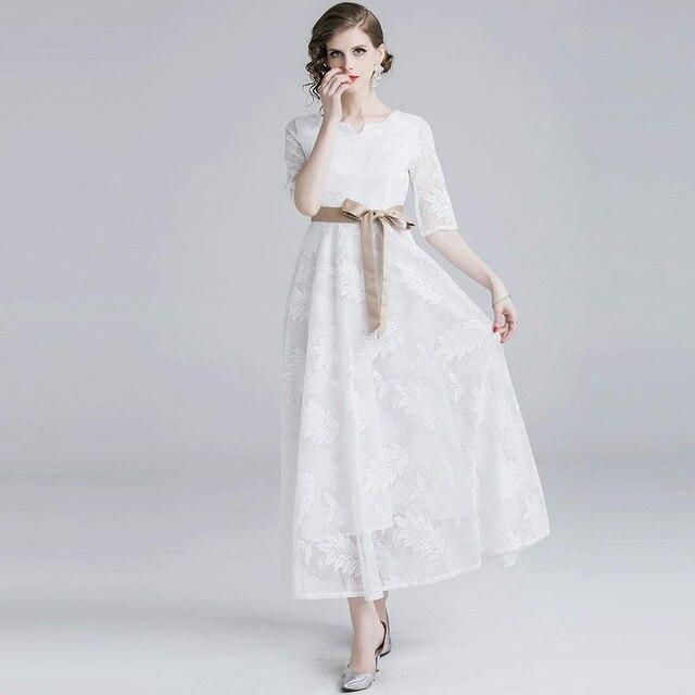 Borisovich Women Elegant Party Dresses Fashion England Style Big Swing A-line Luxury White Lace Female A-line Long Dress